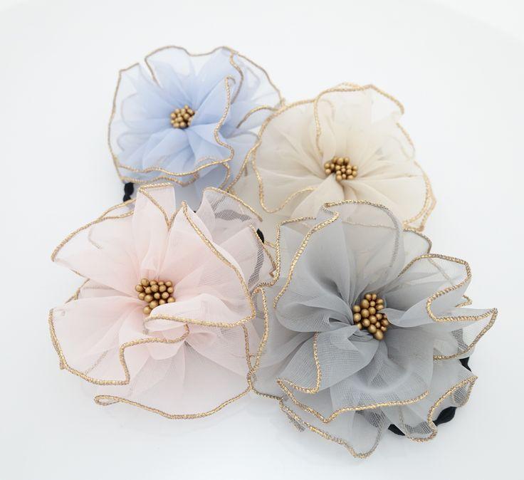 Handmade Tiny Mesh Petal Beaded Pistil Flower Hair Elastic Ponytail Holder  #handmade #trend #shop #style #accessories #hairaccessory #gift #stylish #accessory #veryshine #ponytailholder #ponytail #flower