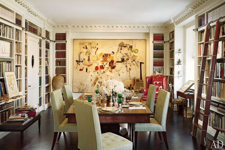 """""""I wanted to have a library that doubled as a dining room, where I could be surrounded by the books I love,"""" says best-selling author and historian Barbara Goldsmith, who hired interior designer Mica Ertegün to update and decorate her Park Avenue apartment."""
