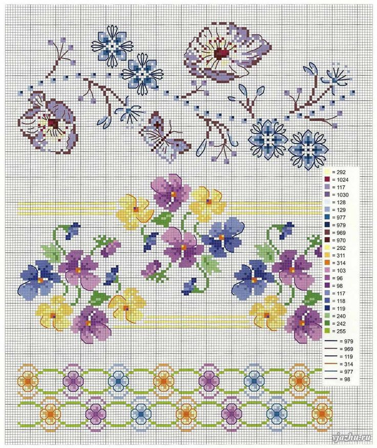 scheme embroidery border with pansies