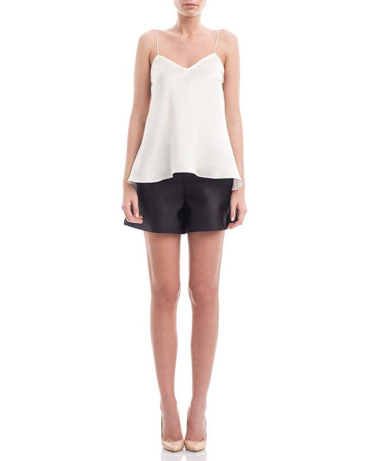 Off-white silk-satin camisole