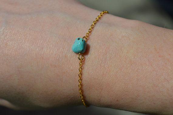 Turquoise Bracelet Dainty Gold Chain Bracelet Birthstone Jewelry Crystal…