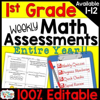 1st Grade Math Assessments   1st Grade Math Quizzes EDITABLE