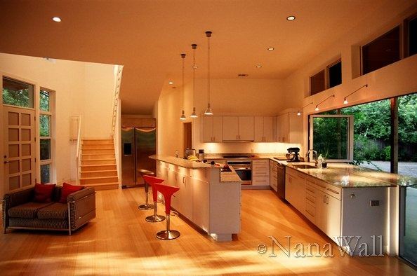 Kitchen extends into the outdoors with nanawall sliding for Thick kitchen wallpaper
