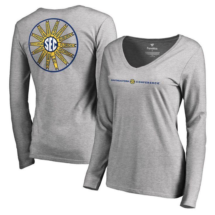 SEC Gear Fanatics Branded Women's Members Long Sleeve V-Neck T-Shirt - Heather Gray