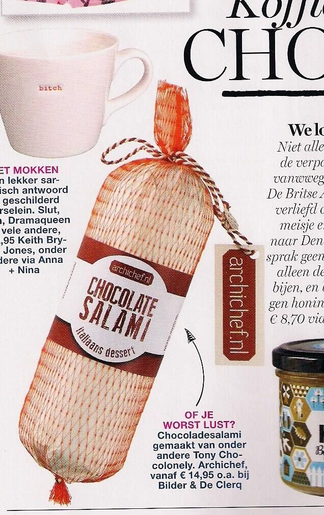 Check it out Page 130 Red magazine October 2013 @red_nl @bilderdeclercq @TonyChocolonely #chocolatesalami www.archichef.nl