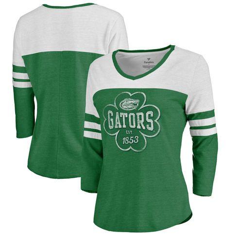 Florida Gators Fanatics Branded Women's St. Patrick's Day Emerald Isle Tri-Blend Raglan 3/4 Sleeve T-Shirt – Heathered Kelly Green/White