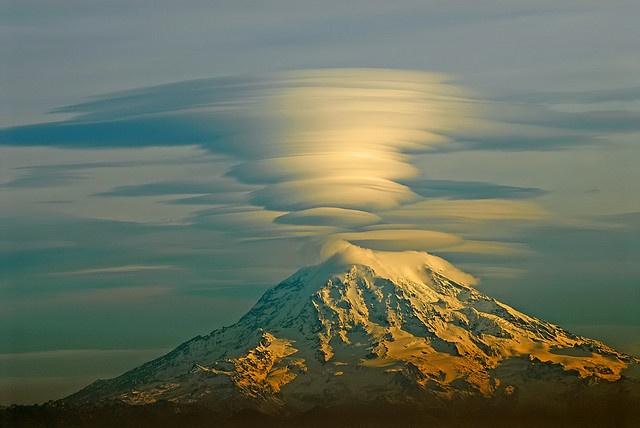 Lenticular Clouds above Rainier.