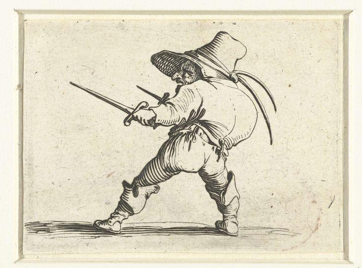 Jacques Callot   Dwerg met twee dolken, Jacques Callot, 1621 - 1625   Dwerg, min of meer op de linkerzijde gezien, met een gebochelde rug, een hoed met twee veren op het hoofd, in de rechterhand en in de linkerhand een dolk. Deze prent is onderdeel van een serie van 21 prenten met groteske figuren; vrijwel al die figuren zijn dwergen, velen zijn gebocheld.