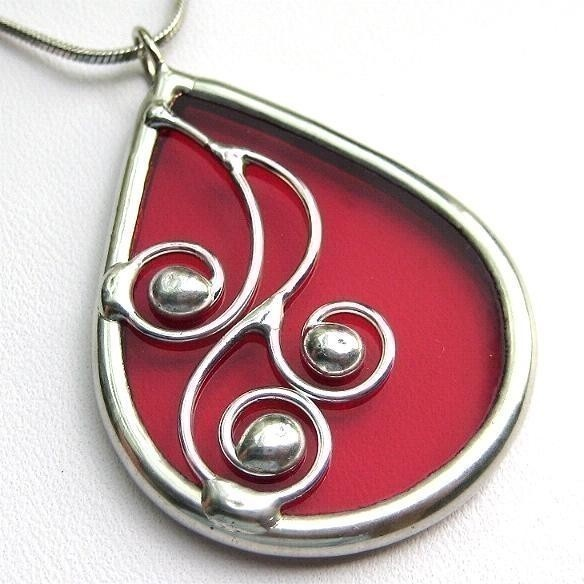 Spirals  teardrop stained glass pendant 1044 by LingGlass on Etsy, $26.00
