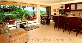 Living room and full kitchen with unobstructed view of lanai and the Kihei ocean. #OwnerDirect.com #maui #hawaii #travel #vacation