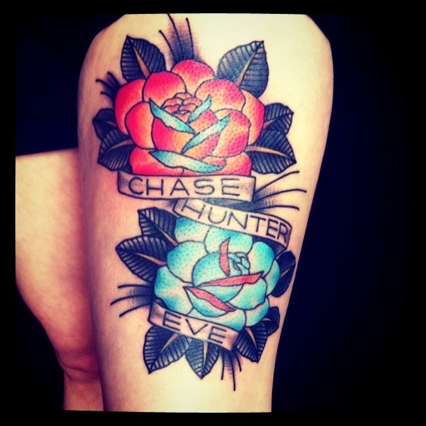 Traditional roses thigh tattoo