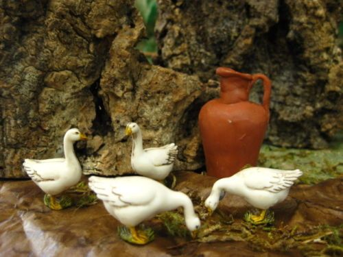 Dollhouse Animals Figurines Geese Set/4 Made in Italy Landi Nativity Pesebre | eBay