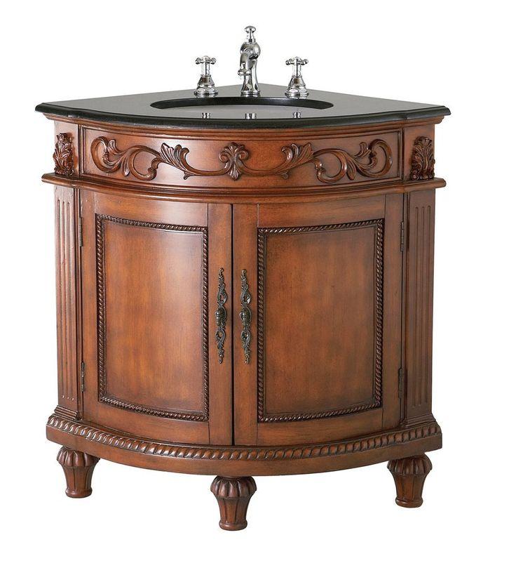 Black Corner Bathroom Cabinet Part - 43: Buy The Belle Foret Dark Oak Direct. Shop For The Belle Foret Dark Oak  Corner Single Basin Vanity Dark Oak With Black Granite Top And Save.