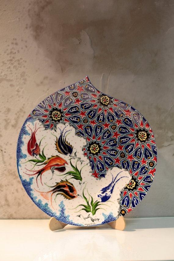 40cm Handmade traditional Anatolian ceramic by IstanbulPottery, $200.00