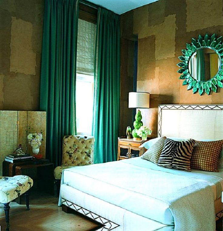 Unique Bedroom With Green Sun Glass Mirror And Green Curtains Using Bedroom  Curtains To Improve The