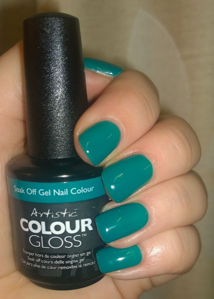 Artistic Colour Gloss in Bon Appe-Teal on my own nails. It's a gorgeous cream opaque teal, mid depth blue green. Great consistency and a dream to apply!