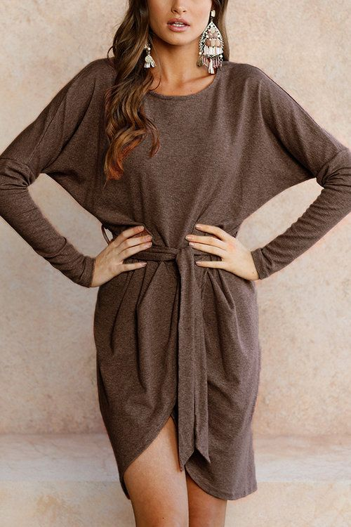 7614ae4d29 Coffee Tie-up Front Asymmetrical Mini Dress. Coffee Tie-up Front  Asymmetrical Mini Dress Long Sleeve Sweater ...