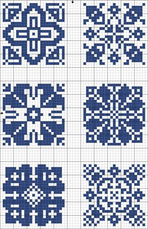Blue tiles 05 | Free chart for cross-stitch, filet crochet | gancedo.eu