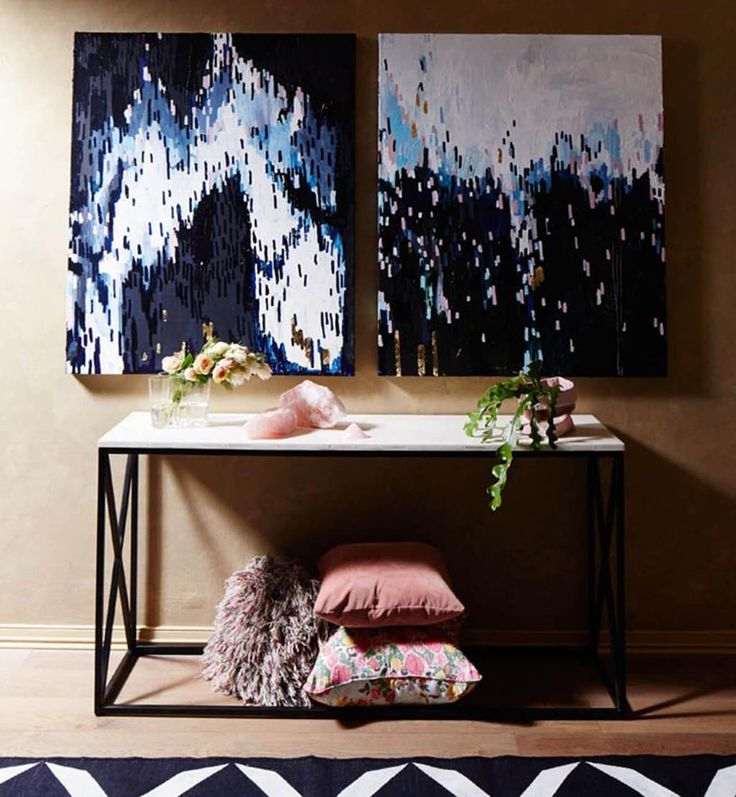 Marble X Frame Console Table - Black