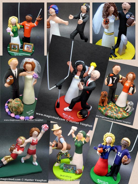 Football Wedding CakeToppers, Football Wedding Anniversary Gift/Cake Topper, NFL Football Wedding CakeTopper,NCAA Caketopper    Football Wedding Anniversary Gift/Cake Topper, NFL Football Wedding CakeTopper, NCAA Caketopper  ...a fired clay Wedding Cake Topper for a Football Fan's Marriage, custom created for you! Handmade to your specifications by magicmud.com    $235 #magicmud 1 800 231 9814 www.magicmud.com