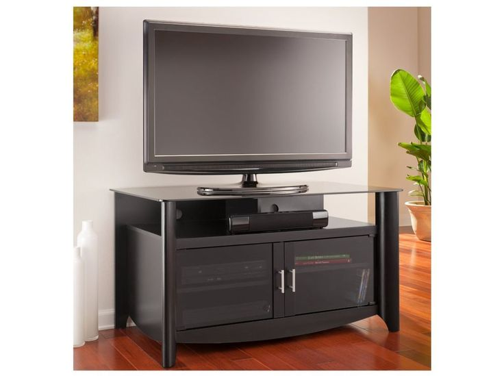 Black TV Stand Flat Screen 45 Inch Television And Entertainment Center dlp 52 30 #BushFurniture