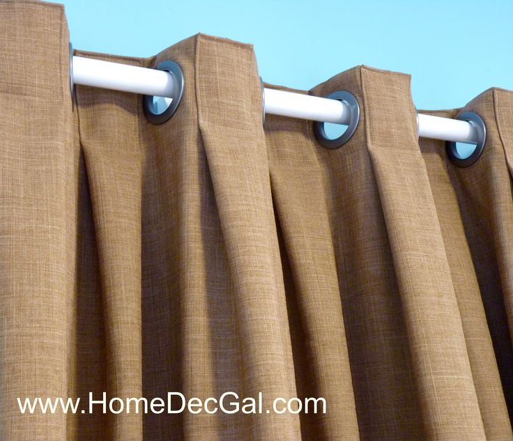 "Box pleated grommet drapery designed and created by Susan Woodcock, www.homedecgal.com Learn how with the online class ""Pleated Grommet Draperies"" http://homedecgal.com/webinar-draperies-with-pleats-and-grommets/"