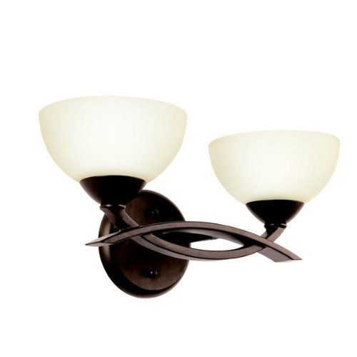 """Kichler 45162OZ, Bellamy Glass Wall Vanity Lighting, 2 Light, 120 Watts Halogen, Olde Bronze by Kichler. $114.30. Umber-Etched Glass. Dimensions - 7.25"""" Height x 14.75"""" Width x 7.25"""" Depth. Includes: (2) - (2) 300BHV439 - 120 w total - krypton-halogen Light Bulbs. This fixture may be hung face down or face up.. Save 40% Off!"""