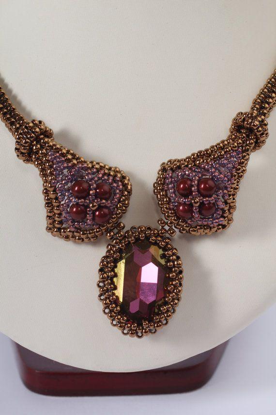 Bead woven necklace in bronze metallic color  unusual by Renarta