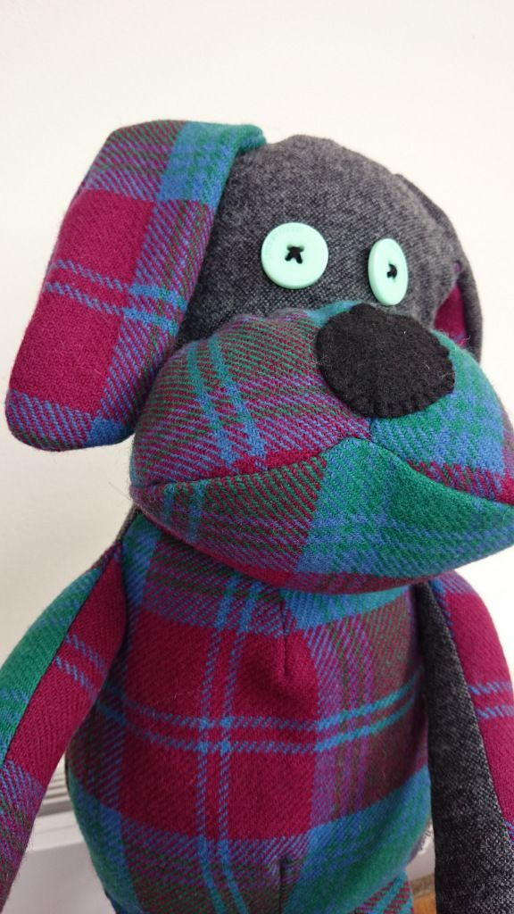 Dog made from trousers and skirt :) He will now serve as Memory Toy