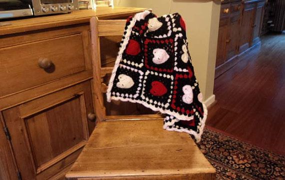 Granny Square Throw  Small Hearts: Pink Red and Cream