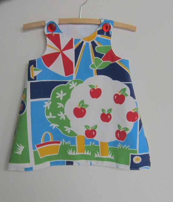 Upcycled baby dress size 1 12  18 months by BananaOrangeApple, $25.00