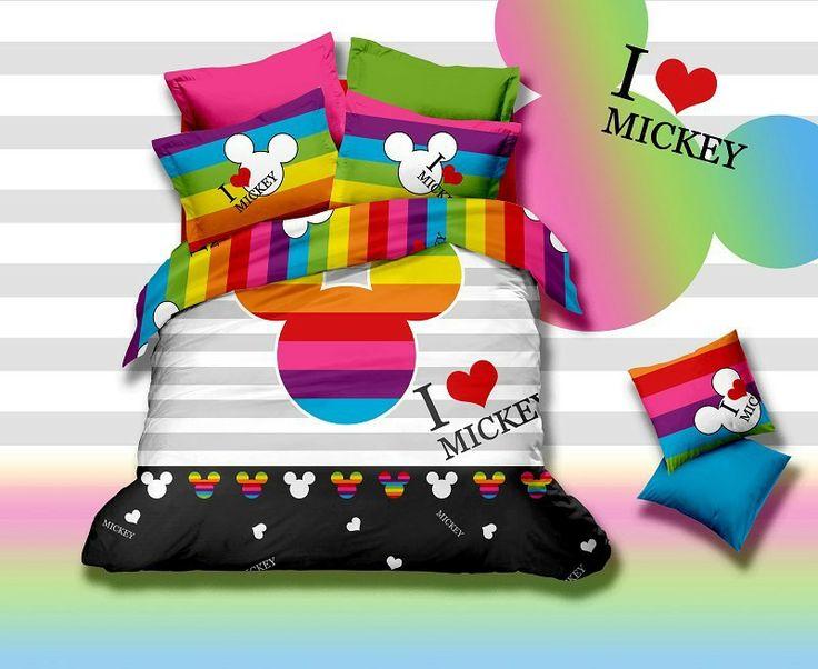 Mickey y minnie mouse rey/completo/reina/tamaño twin conjuntos de ropa de cama/edredón conjunto/fundas de