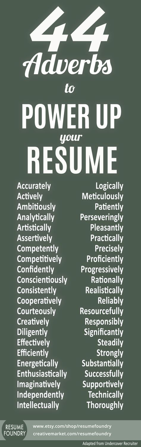 Resume tips, resume skill words, resume verbs, resume experience