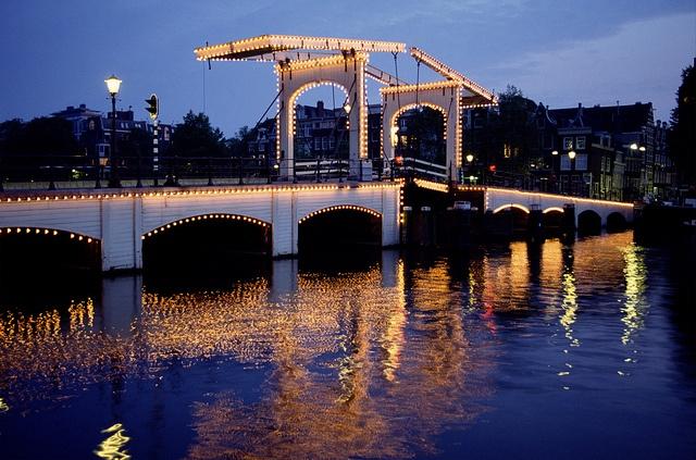 Amsterdam Bridge at night.#  Viking River Cruises