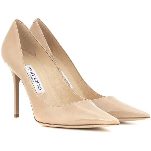 Jimmy Choo Abel Patent Leather Pumps (£330) ❤ liked on Polyvore featuring shoes, pumps, heels, nude, beige, nude patent leather pumps, heels & pumps, nude heel pumps, beige pumps et beige shoes