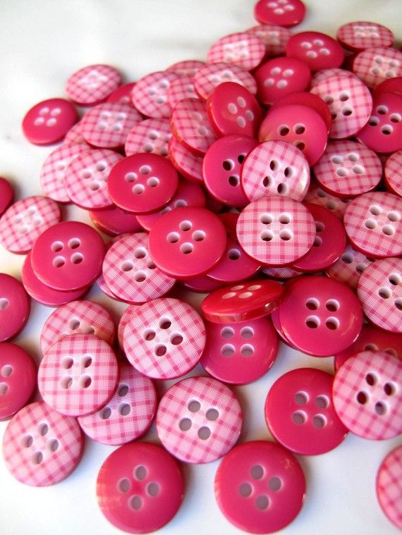 Pink gingham buttons, 100 for $9