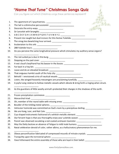 """Name That Tune"" Christmas Songs Quiz - Printable Christmas Games"