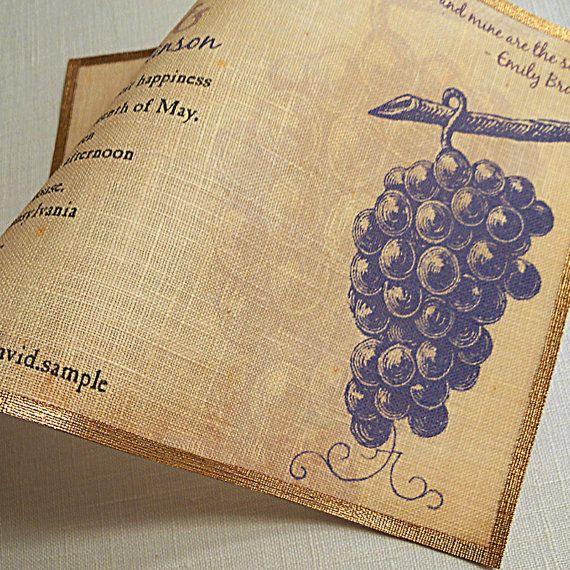 Vineyard wedding invitations purple grapes by ArtfulBeginnings