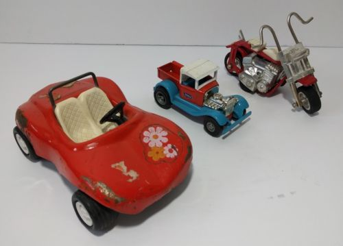 Lot of 3x Vintage Tonka Toys Flower Car Truck Motorcycle Metal 1970's