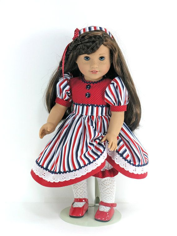 Doll Clothes Fit American Girl July 4th Doll Dress by LidiDesigns
