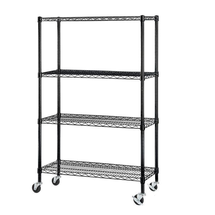 Excel NSF Multi-Purpose 4-Tier Wire Shelving Unit with Casters (36 in. W x 14 in. D x 59 in. H, Black)