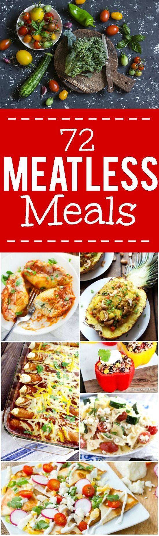 72 Meatless Recipe Ideas - 72 of the best Meatless Monday recipes that are family friendly, simple and easy vegetarian recipes. Making just one vegetarian dinner every week can help save on grocery costs too!
