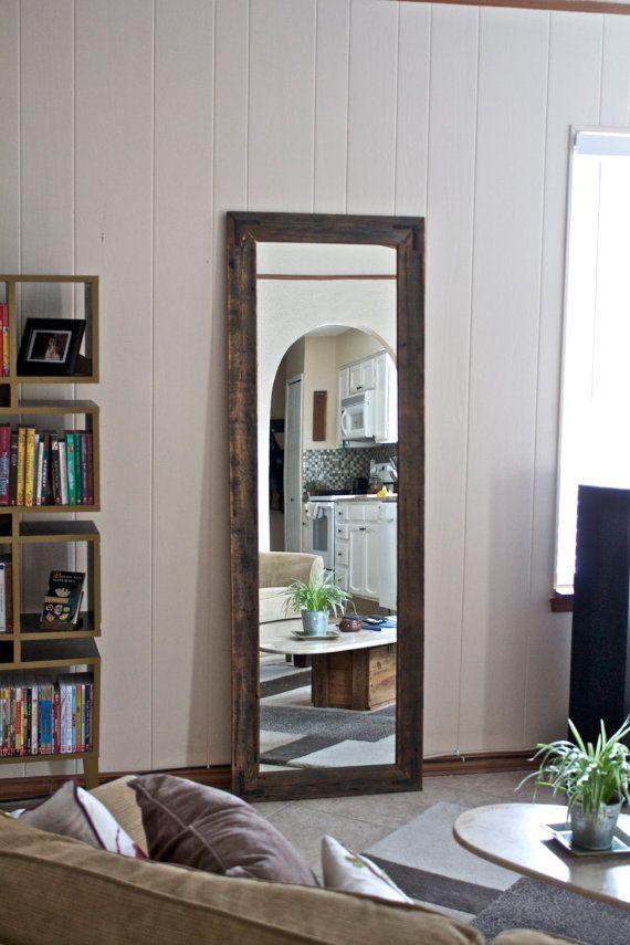 Rustic wardrobe mirror large wall mirror 24 x 66 vanity mirror floor mirror rustic for Floor vanity mirror