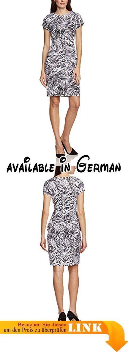 APART Fashion Damen Schößchen Kleid 52638, Mini, All over print, Gr. 40, Mehrfarbig (WEISS-MULTICOLOR). Rundhalsausschnitt. Bedruckte Scubaware. Figurbetonende Teilungsnähte. Seitlich angesetzte Schößchen. Sehr figurbetont geschnitten #Apparel #DRESS