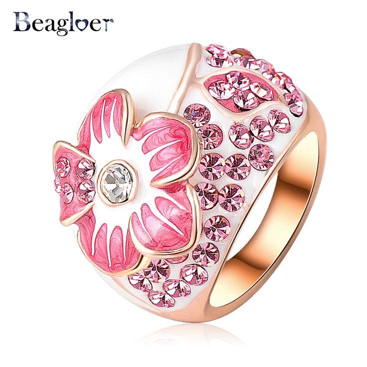 Beagloer Brand Pink Enamel Flower Rings Fashion Rose Gold Plated Ring Genuine SWA Elements Austrian Crystal Ri-HQ0015-b