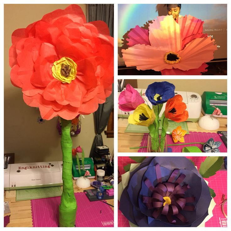 Collage of paper flower art. Giant paper flowers!