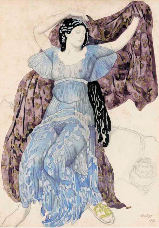 "By Leon Bakst, 1922, ""Écho abandonné"", costume design for Tamara Karsavina as Echo in ballet ""Narcisse"",  Ballets Russes."