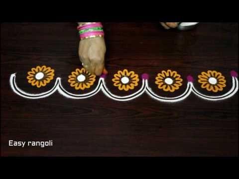 simple & easy creative colour rangoli border designs || kolam designs || easy rangoli side designs - YouTube