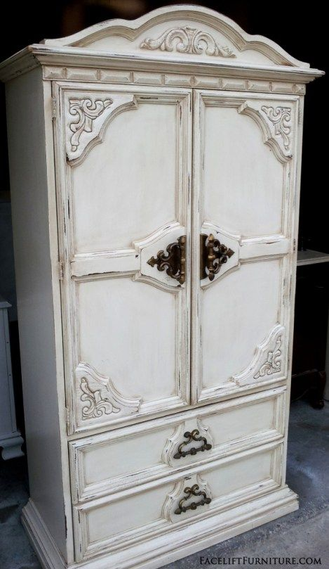 I refinished the armoire in Off White.  Tobacco Glaze was used to accent all the molding and ornate areas, and provide a weathered look to the entire piece. Glaze does wonders with bringing out the best in an old piece, and that certainly was the case with this armoire.