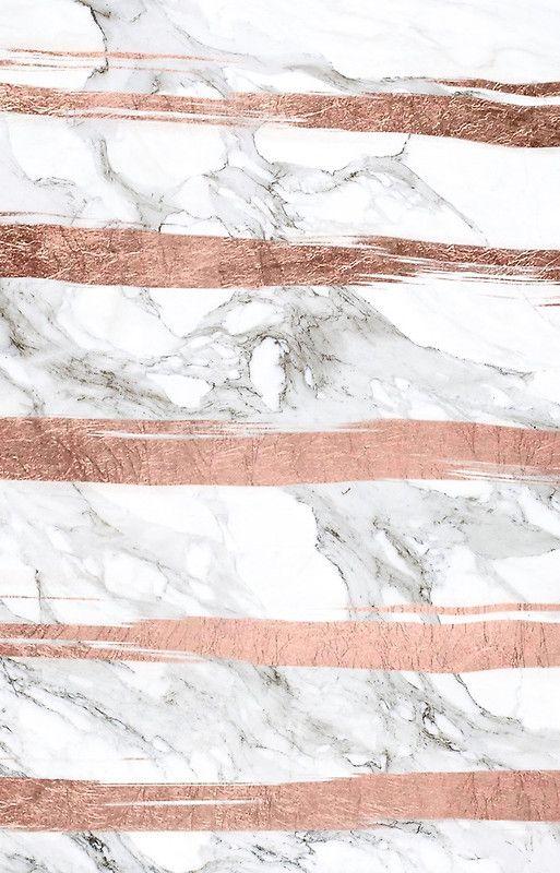 Modern chic faux rose gold brush stripes white marble